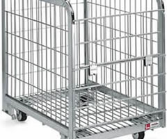 Foldable Container Cages with Gate and Wheels, Silver Plated